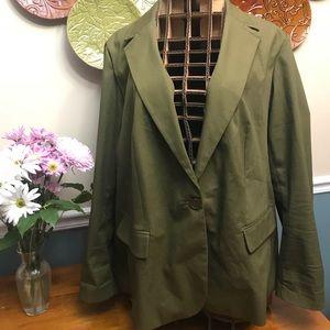 Lane Bryant size 28 sage canvas type blazer